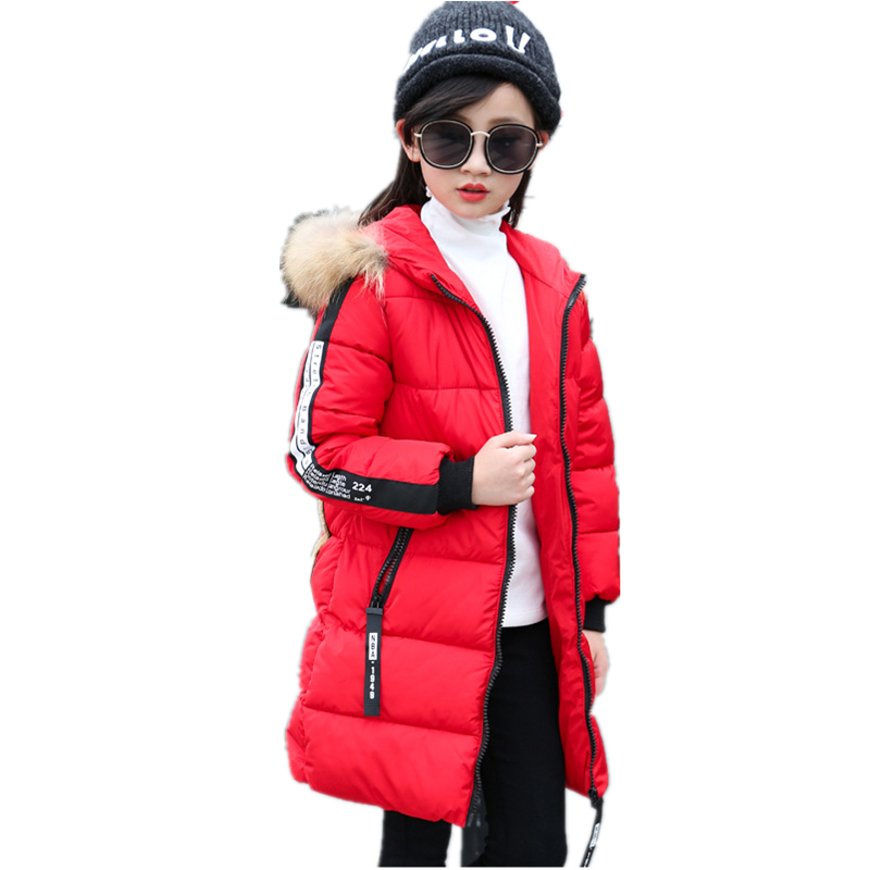 Fur Hooded Baby Teenage Winter Jacket For Girls Warm Winter Parka Coat Thick Kids Manteau Fille Hiver Children's Clothing H320 2017 baby girl thickness warmer down jacket for girl fashion kids winter jacket manteau fille hiver hooded girls winter coat