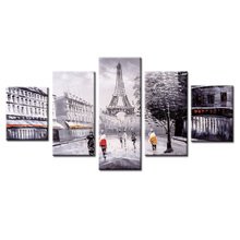 5 Panels Abstract tower landscape Canvas Print Painting Modern Canvas Wall Art for Wall Picture Home Decor Artwork 3 panels circular canvas print golden line mountain landscape abstract picture chinese painting for office home decor wholesale