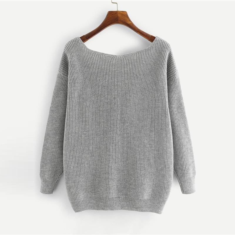 HTB1YC8PfhTpK1RjSZR0q6zEwXXaw - SHEIN Grey Preppy Elegant Plus Size Dropped Shoulder Bow Detail Solid Pullovers Sweater Autumn Casual Workwear Women Jumpers