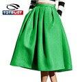 Falda de moda De Ocio Calle Retro Swing Faldas Plisadas Para Mujer 2016 de Alta Wasit Elegante Falda Larga Plisada Dama de Otoño Saia Falda
