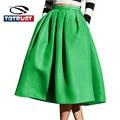 Fashion Leisure Skirt Street Retro Swing Pleated Skirts Womens 2016 High Waist Elegant Long Skirt Pleated Autumn Lady Saia Falda