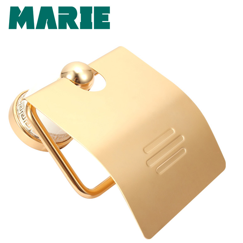 Suporte de Rolo de Suporte Do Papel Higiénico Titular Tecido de ouro Acessórios Do Banheiro de alumínio Produtos de Papel Cabide