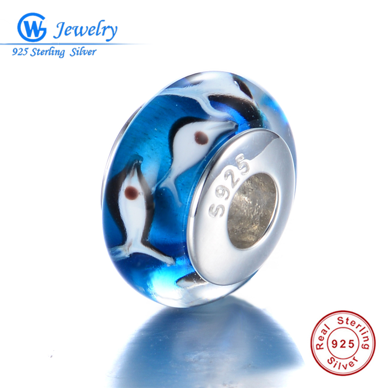 925 Sterling Silver Cluster of Fish Murano Glass Beads fit Pandora Charms Original Bracelet S925 Authentic Silver Jewelry H40