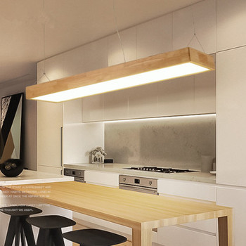 Nordic Modern Minimalist Solid Wood Pendant Light LED Strip Bar Lamp Rectangular Office Restaurant Cofe Pendant light