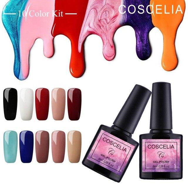COSCELIA 8 ml ג 'ל לק ג' ל לכה חצי קבוע ג 'ל UV צבע עבור מניקור נייל אמנות עיצוב 40 צבעים העליון משרים בסיס