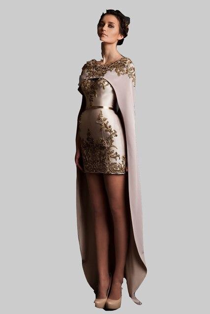 2017 krikor dos piezas de vestidos de baile beads applique chal desmontable tren largo mini baile vestido de noche formal dress kadisua xy971
