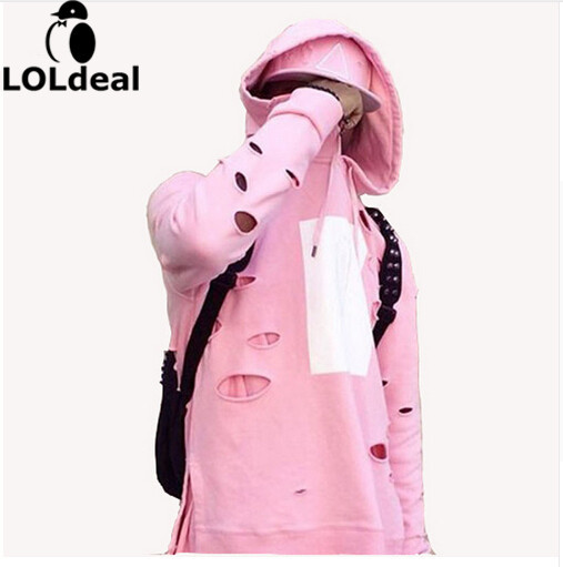 Loldeal Для мужчин хип-хоп с капюшоном пуловер с капюшоном уничтожены Стиль Толстовка bape розовый балахон ...