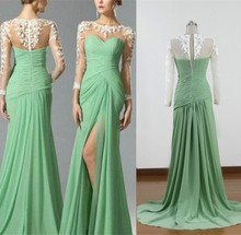 Long turquoise prom dresses real image evening gowns long sleeve dress white Prom Dress P30