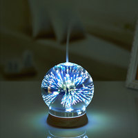 Creative 3D Magic Air Humidifier Glass Ball Shape Ultrasonic Essential Oil Diffuser Aroma Lamp Wood Grain Colorful Humidifier