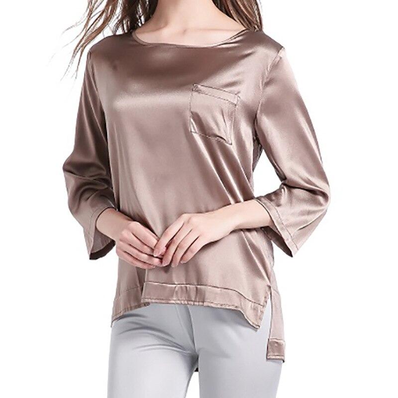 2018 Autumn Nature Silk Seven Point Sleeves Splicing T shirt bottoming shirt Round neckline Women s