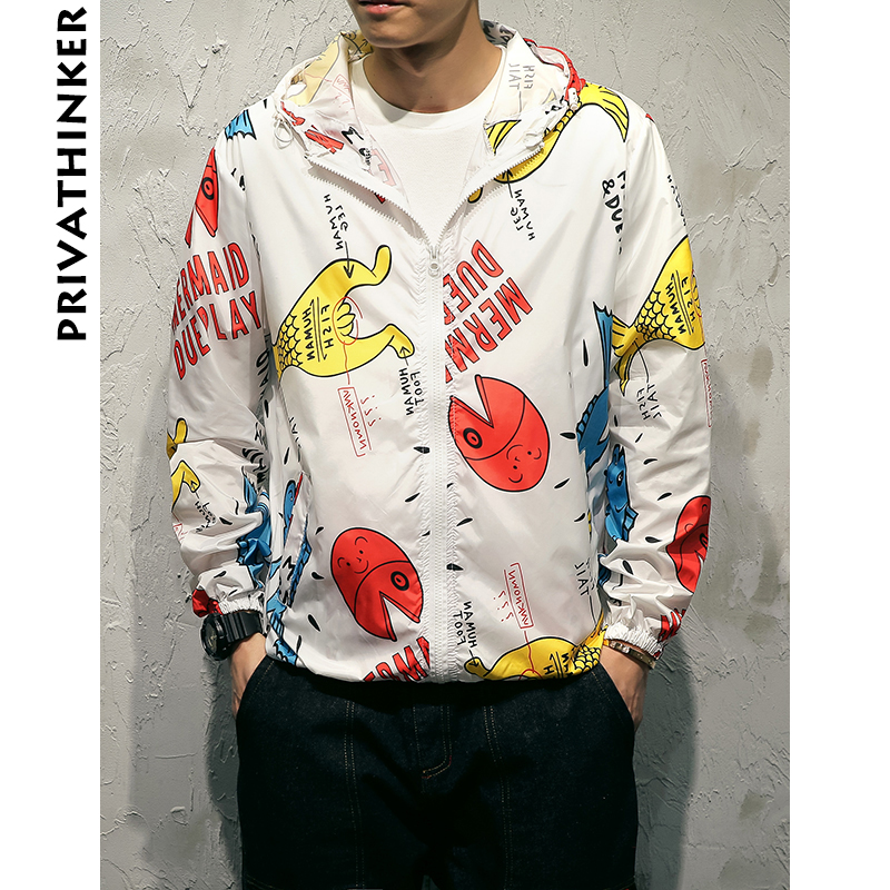 Privathinker 2018 Summer Rashguard Men Print Jacket Coat Male Hip Hop Streetwear Sunscreen Mens Harajuku Sun Protection Clothing