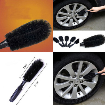 1PC Outdoors Wheel Cleaner Cleaning Brushes Car Bike Alloy Wheel Cleaning Brush Soft Bristles Cleaning Brushes Black Gray image