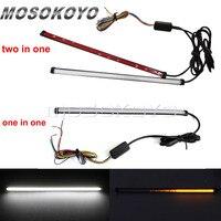 Branco vermelho w/âmbar carro da motocicleta led sequencial switchback fluindo cauda luz de freio por sua vez luzes sinal tira tubo universal|  -