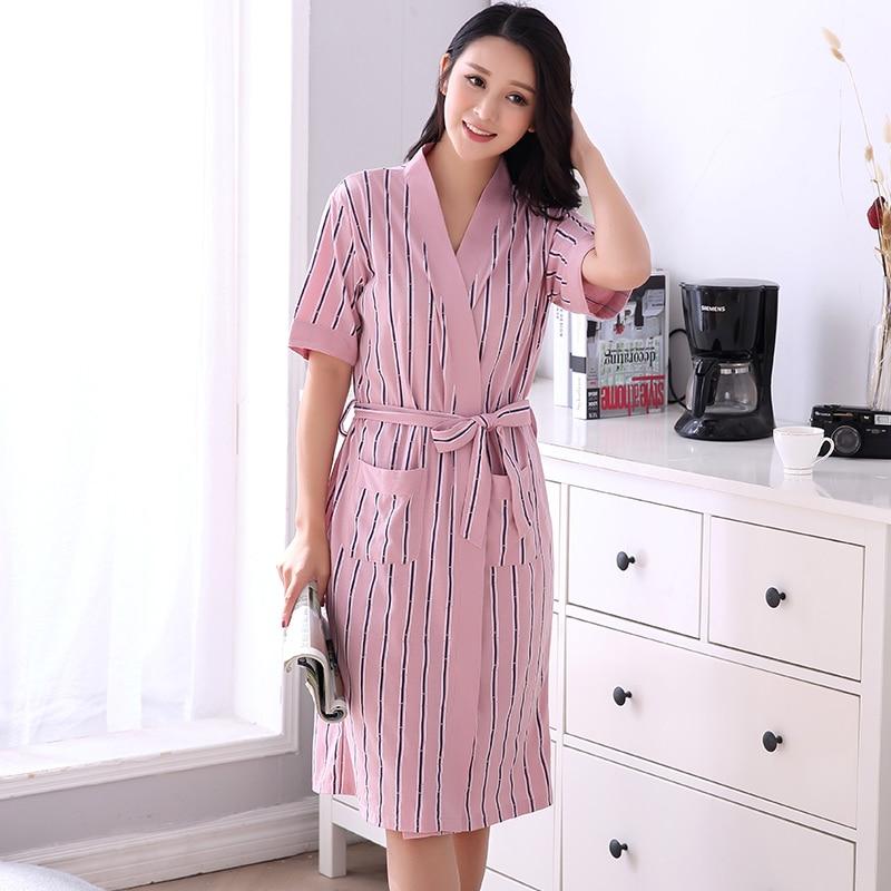 7d41a9fcb8 Detail Feedback Questions about Women s Bath Robe Plus Size 3XL Ladies  Striped Night Dress Short Sleeve V neck Nightwear 100% Cotton Nightgown sexy  Summer ...