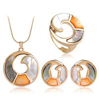 Blucome Indian Jewelry Sets Gold Color With Shell Round Pendant Necklace Earrings Ring Set For Women