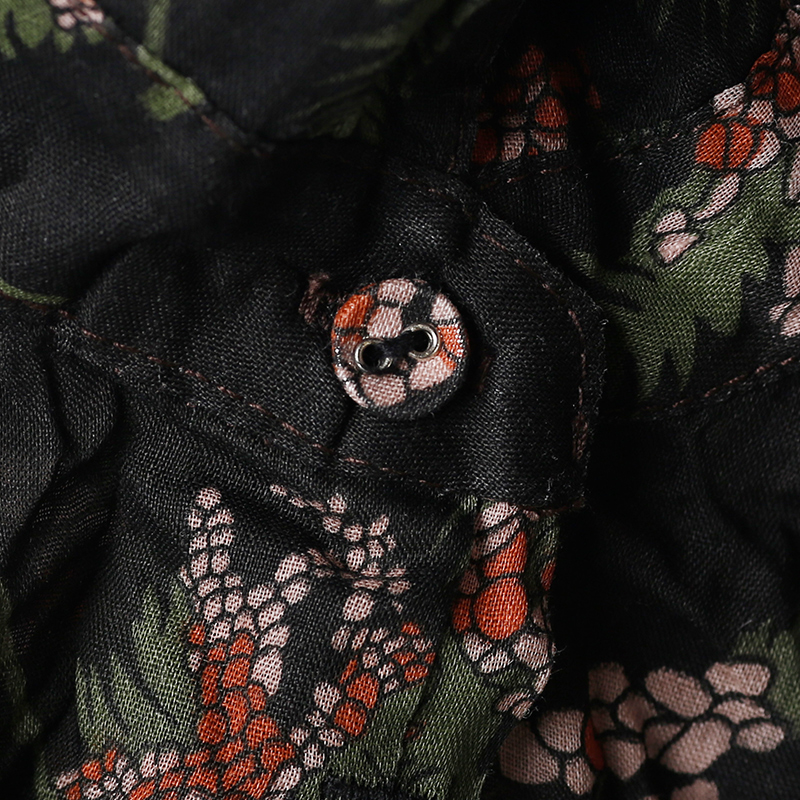 Lin Et Une Base C573 Mince Un Noir Blouse Coton Avec Large Black nSwXRwgq