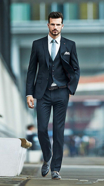 Gorgeous Groomsman Tuxedos 2015 New Arrival Dark Navy Custom Made Best Men's Suit For Wedding Party ( Jacket+Pants+vest+tie)