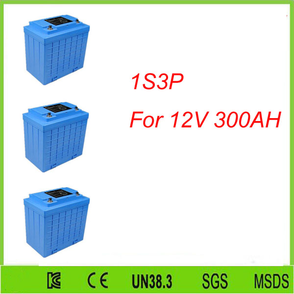 Free shipping 3Pcs 1S3P   12V 100Ah Lifepo4 Lithium Battery Pack Lithium Battery 12v 100ah For 12V 300AH lifepo4 battery pack
