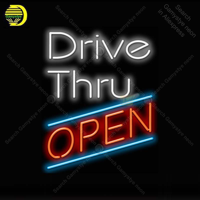 Neon Sign for Drive Thru Open Neon Light Neon Bulb sign Beer Bar Display club Hotel