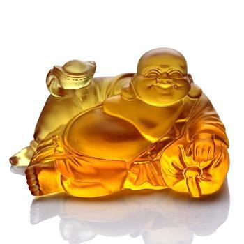 Lucky, Coloured glaze Maitreya, azure stone Buddha, Home decor, handicraft, business car decoration, high-grade fine~