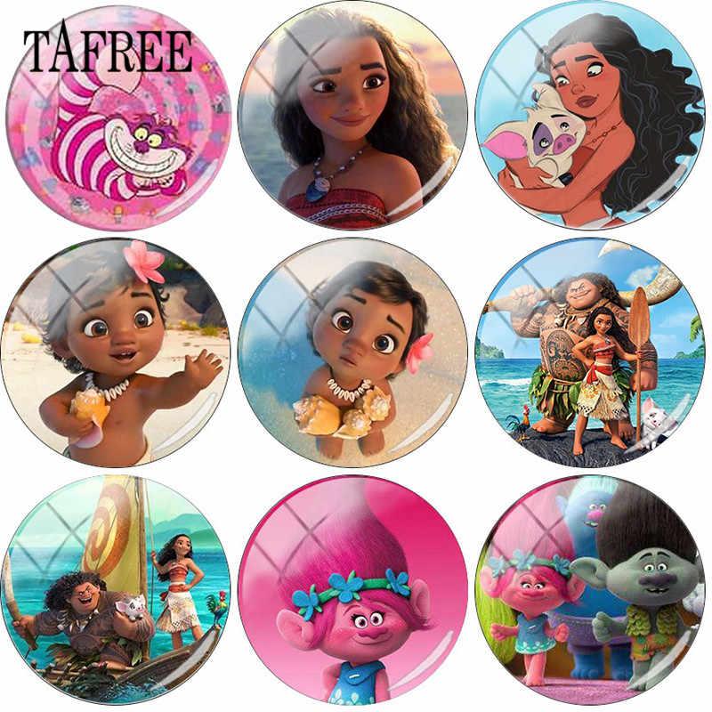 TAFREE Cartoon Princess Moana Photo 25mm Glass Cabochon Dome Flatback DIY Making Jewelry Accessories