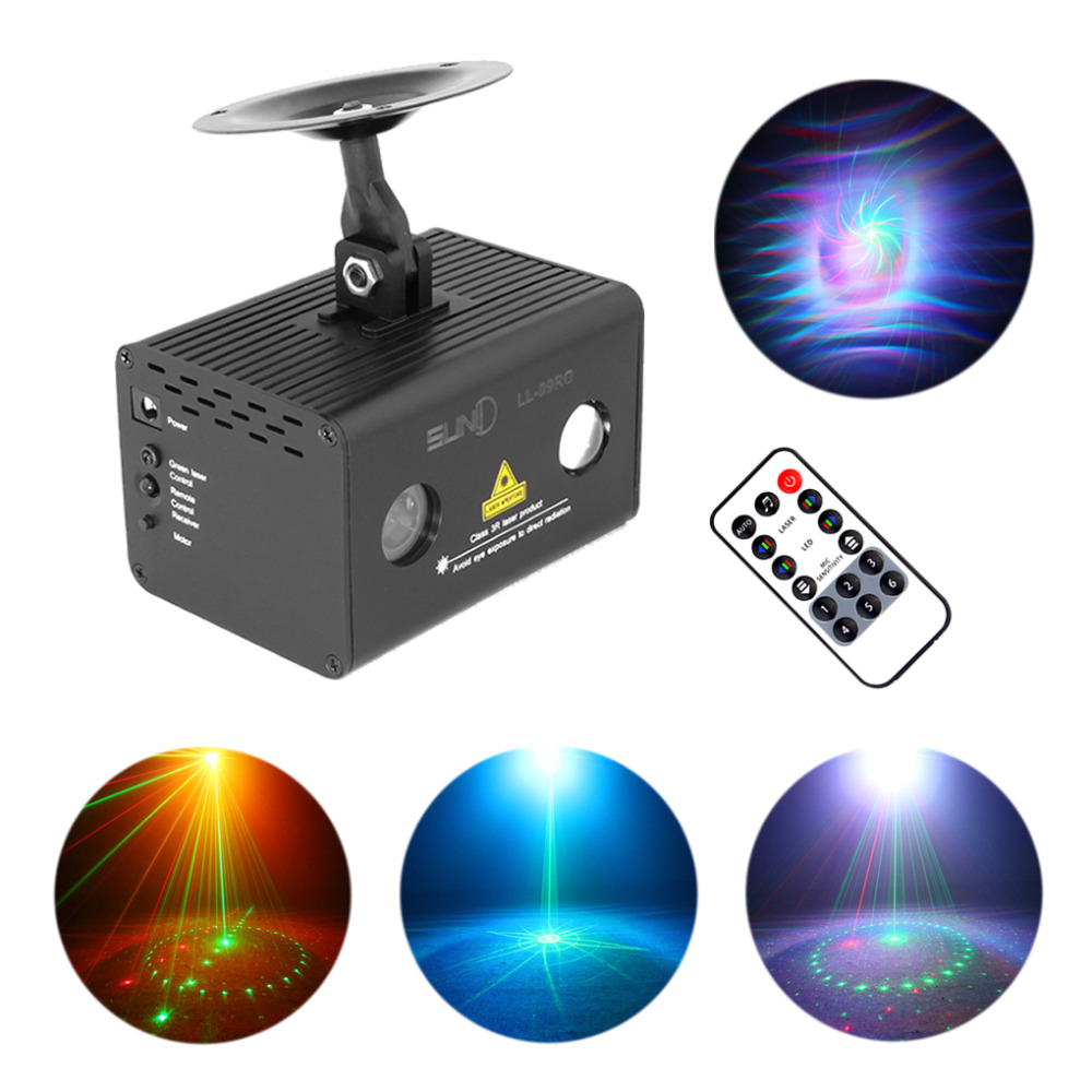AUCD Mini 9 Gobos RG Laser Light Aurora RGB LED Water Galaxy Projector Sound AUTO Stage Lighting DJ Xmas Home Party Show LL-09RG transctego laser disco light stage led lumiere 48 in 1 rgb projector dj party sound lights mini laser lamp strobe bar lamps