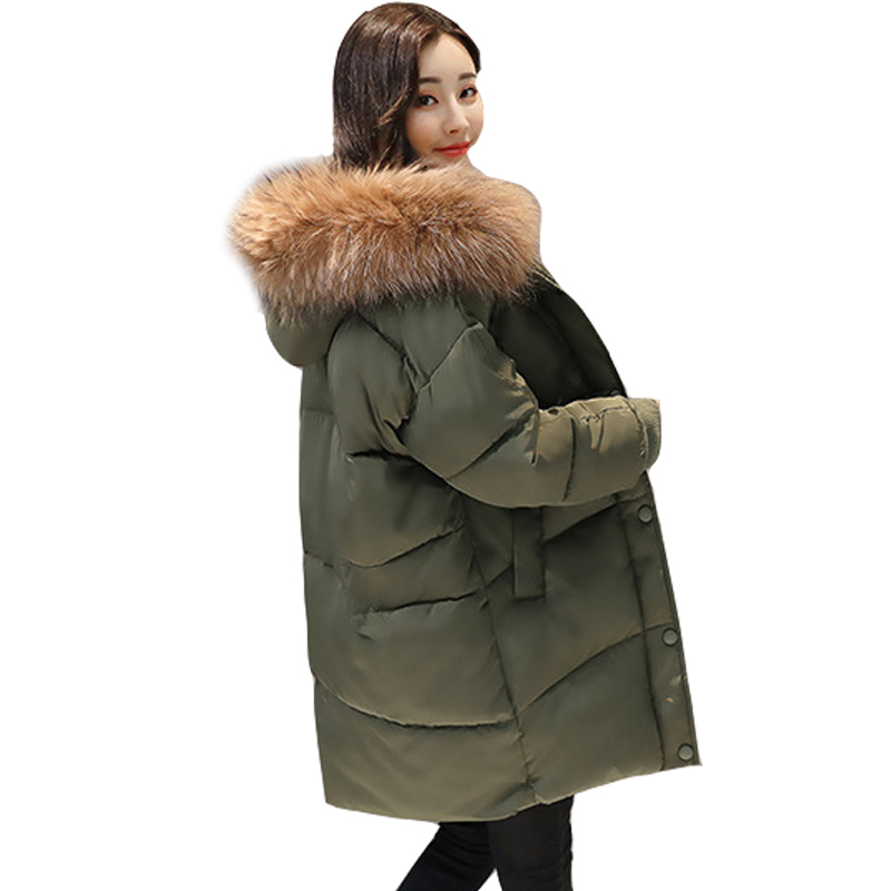 2019 New Loose Design Winter Jacket Women Hooded Coat Female Jacket Fur Coat Thick Warm Down   Parka   Long Plus Size Wadded Jacket