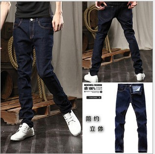 free shipping Men s Jeans Slim Fit Classic denim Jeans Trousers Straight Size M L XL