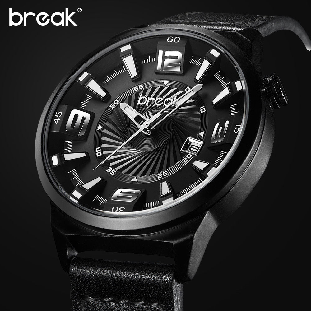 BREAK Men Top Luxury Brand Stainless Steel Band Fashion Casual Japan Quartz Sports Wristwatches Unique Gift Watches for Gent Boy orkina golden watches for men top luxury brand mens quartz wristwatches stainless steel band working sub dials 6 hands watches