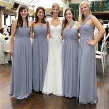 2015 Gray Long Chiffon Bridesmaid Dresses Seethert One Shoulder A Line Floor-Length Robe Demoiselle Honneur Biridesmaid Dress