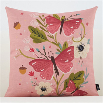 Pink Vintage Butterfly Cushion Cover