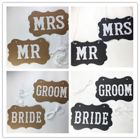 100 SET/ 1 LOT (2pcs) Included Letter Bride Groom MR MRS Garland Banner Photo Booth Props Chair Sings Decoration