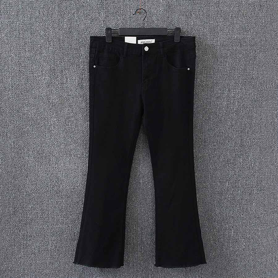 Flare Jeans Women New Plus Size Casual Ankle-length Stretched Slim Black Denim Jeans KK3019