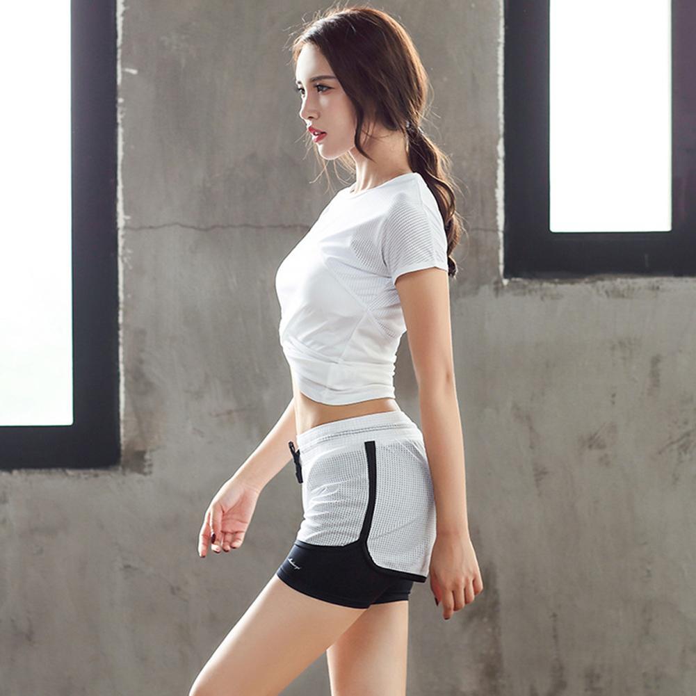 2018 New Women Yoga Sport Suit Shirt Set 2 Piece Female Short-sleeved Summer Sportswear Running Fitness Training Clothing