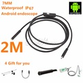 Android USB Endoscope 6 LED 7mm Lens Waterproof Inspection Borescope Tube Camera with 2m Cable Mirror Hook Magnet