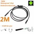 Android USB Endoscopio 6 LED 7mm Lente A Prueba de agua Tubo Boroscopio Cámara de Inspección con 2 m Cable Espejo Gancho Imán