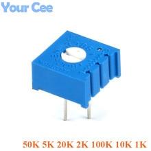 10 pcs 3386 Trimmer Potentiometer 3386P Variable Resistor Adjustable Resistance 1K 10k 100k 2k 20k 5k 50k