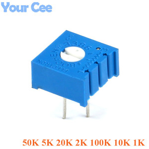 Resistência ajustável do resistor variável do potenciômetro 3386 p do ajustador dos pces 3386 1 k 10k 100k 2k 20k 5k 50k 10k