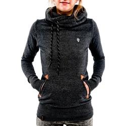 Autumn Harajuku Hoodies Women Loose Hooded Scarf Collar Pocket Pullovers Female Long Sleeve Cotton Sweatshirts Plus Size 30** 3