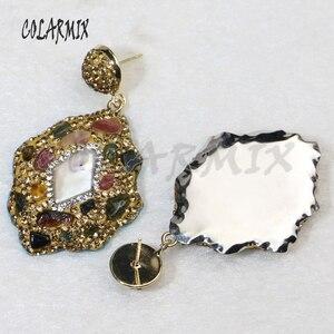 Image 3 - 5 pairs mix pedra brincos de cristal dourado balançar brincos brincos de gota natural arco íris cristal acessórios para mulher 8035