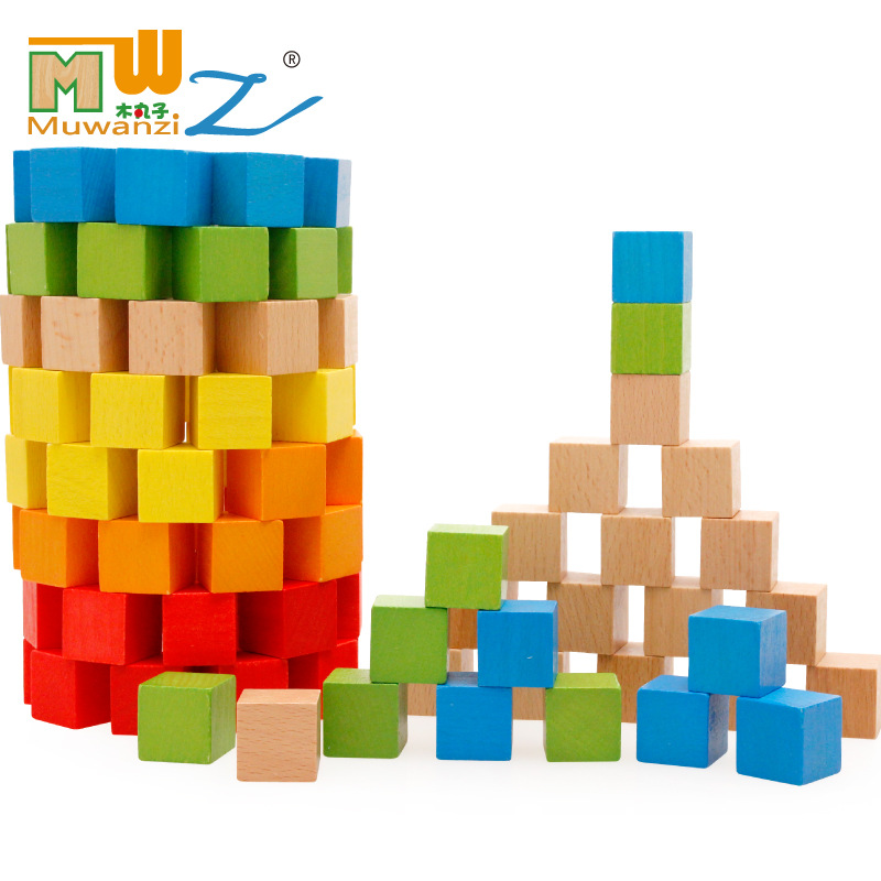 100pcs Montessori Kids Toy Beech Wooden Magic Cube Blocks Intelligent Multicolor Preschool Toys dayan gem vi cube speed puzzle magic cubes educational game toys gift for children kids grownups