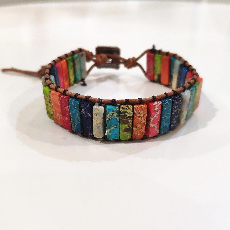 Natürliche Stein Handgemachte Multi Farbe Chakra Armband Schmuck Rohr Perlen Leder Wrap Armband Kreative Geschenke Paare Armbänder