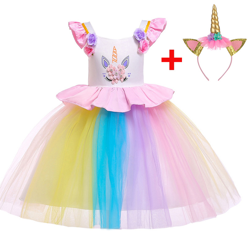 2019   flower     girl     dresses   unicorn costume first communion children clothing   girl   party wedding clothing kids baby clothes L5090
