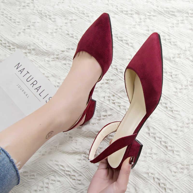 Vrouwen hoge hakken schoenen met spitse suede kwaliteit lage hakken schoenen zomer casual schoenen 39 casual sandalen nieuwe mode