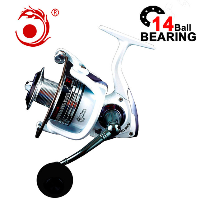 بكرة صيد عالية الجودة من نوع 14BB بكرة دوارة دوارة ذات ذراع دوارة تعمل بالتحكم العددي بواسطة الحاسوب باللون الأبيض بكرة مغذي لصيد الأسماك