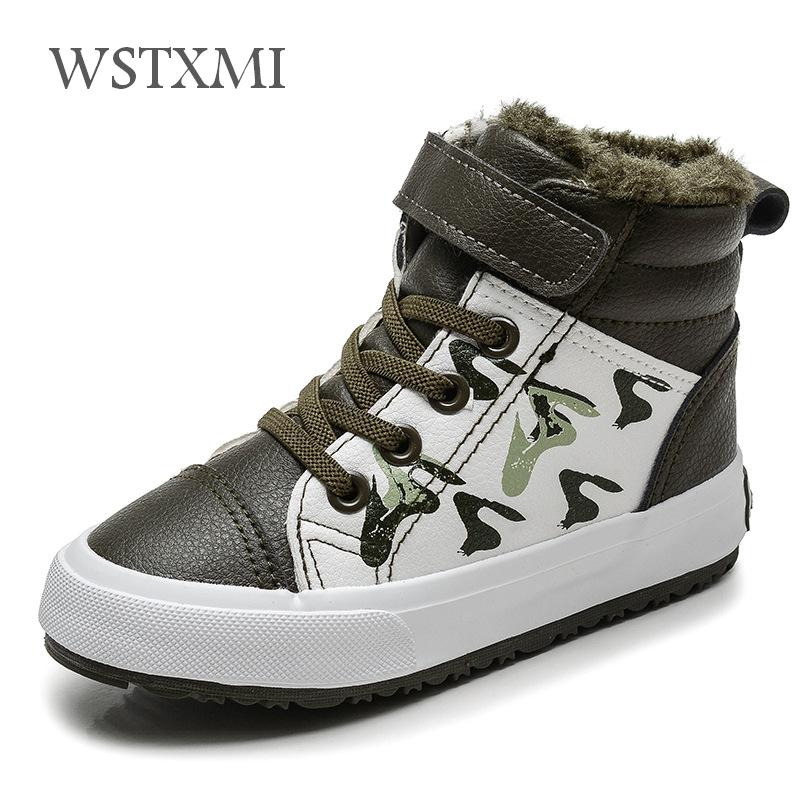 Autumn Winter Boys Fashion Boots For Children Shoes Leather Waterproof Snow Boot Kids Ankle Martin Boots Plush Warm Sports Shoes