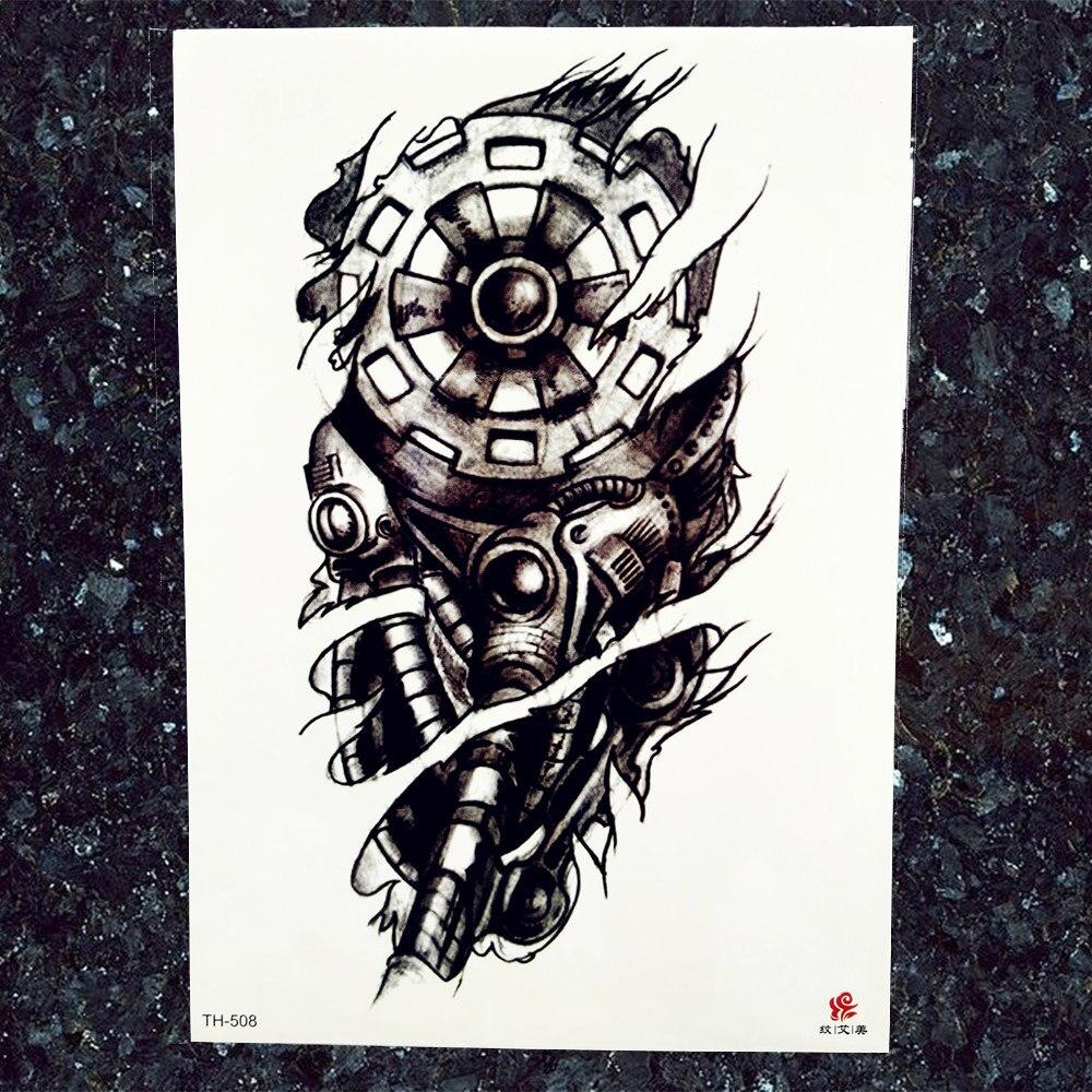 Men Large Robot Arm Temporary Tattoo Stickers Black Fake India