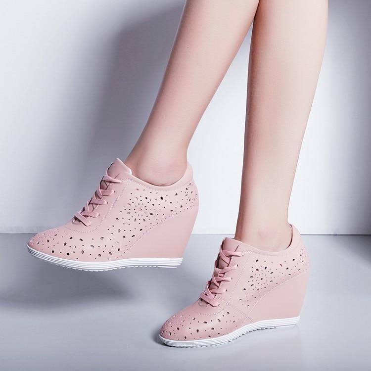Casual Neue High Sneakers H Damen Sommer Breathable Pumps {zorssar} Damen 2018 he Zunehmende Schuhe Wedges Heels PinkWei doerxCBWQE