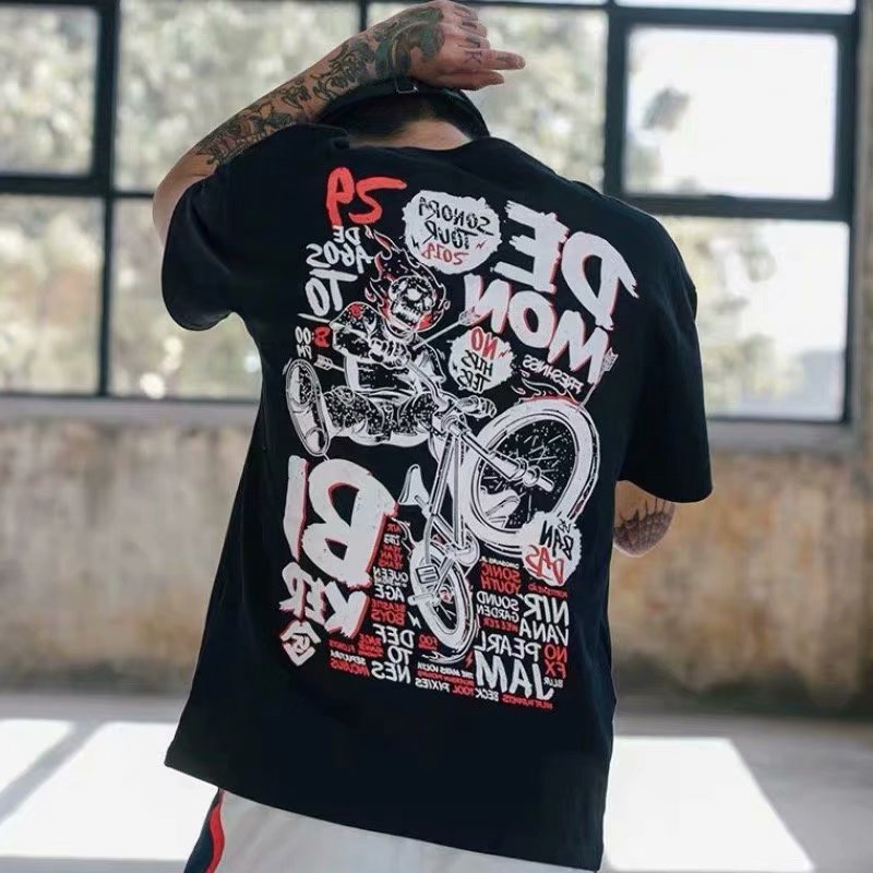 HipHop Casual Short Sleeve Men Shirt Cool Printed Streetwear Summer T-shirt Loose Top T Shirt Menswear
