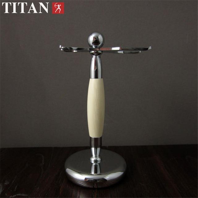 TITAN Shaver Antique Shaving Stand Ivory White Brush Razor Holder Stand Holder With Gift Case